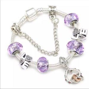 Jewelry - 18cm Brand New Purple LOVE Crystal Charm Bracelet